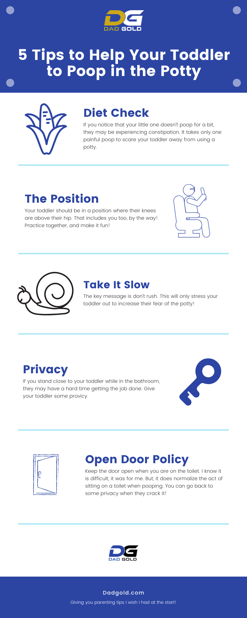 5 Tips to Help Your Toddler to Poop in the Potty Infographic