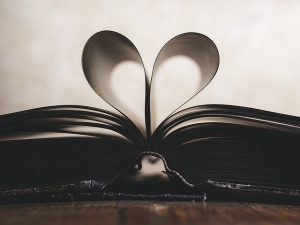 book, heard shaped pages