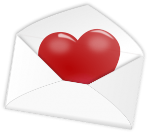envelope with a red heard inside