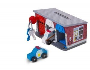 Melissa & Doug Keys & Cars Wooden Rescue Vehicle & Garage Toy
