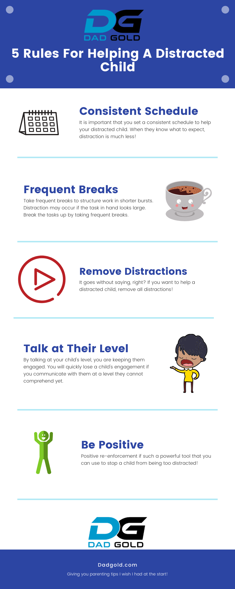 5 Rules For Helping A Distracted Child infogram
