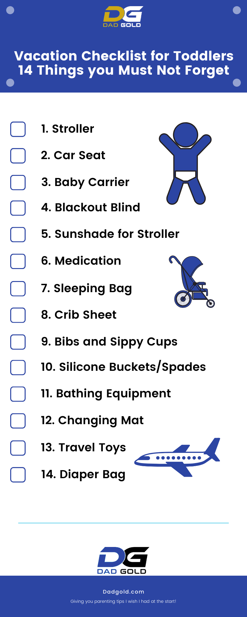 Vacation Checklist for Toddlers 14 Things you Must Not Forget Infographic