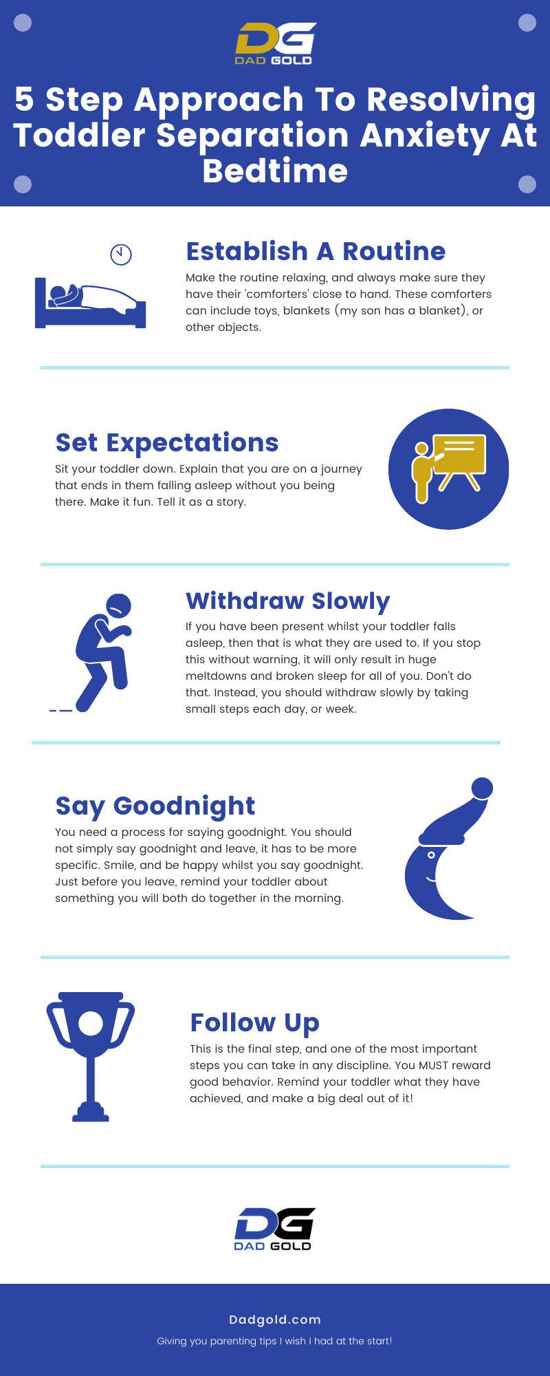 5 Step Approach To Resolving Toddler Separation Anxiety At Bedtime Infographic