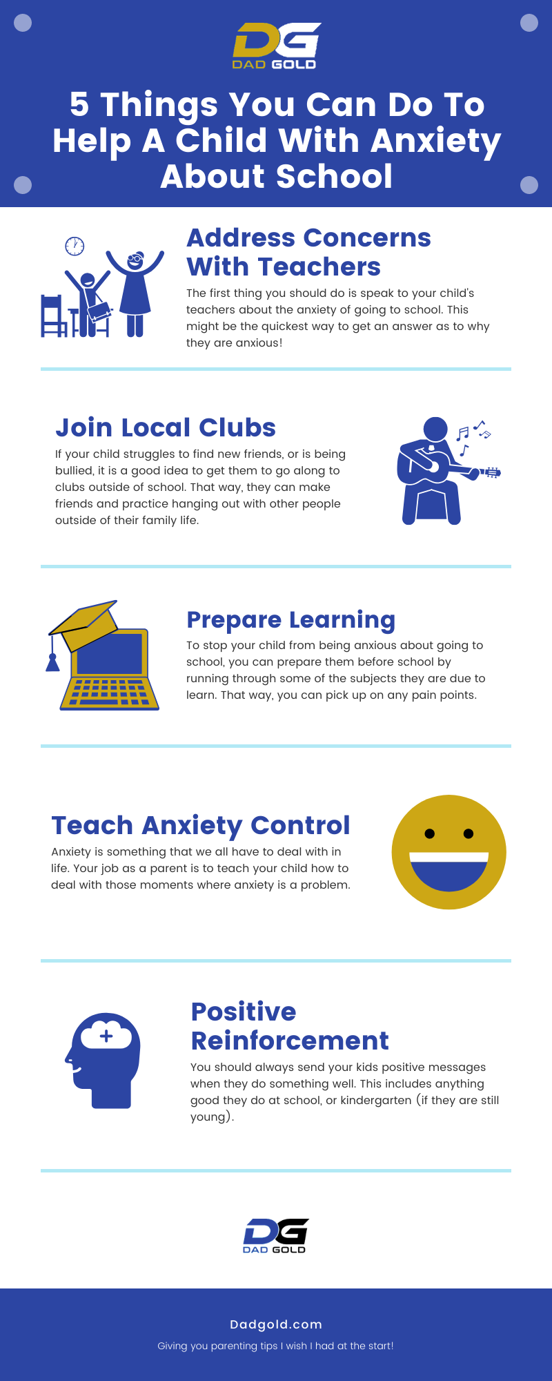 5 Things You Can Do To Help A Child With Anxiety About School Infographic