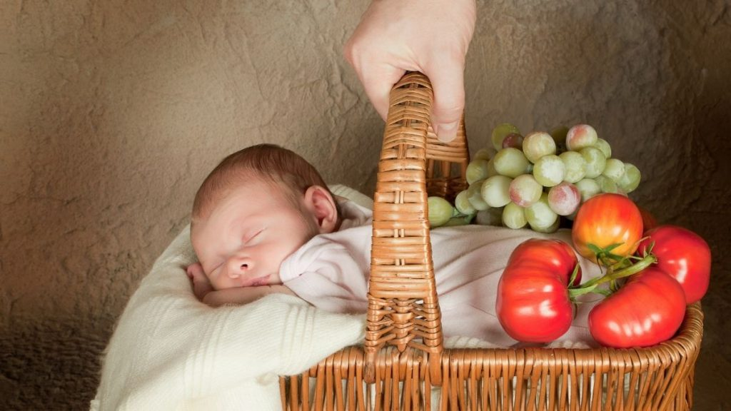 newborn in shopping basket
