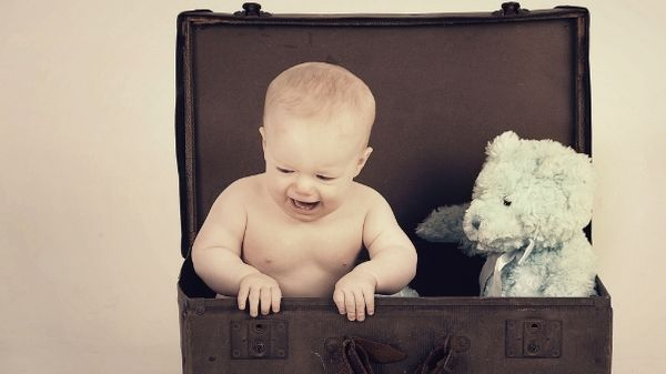 baby and teddy in suitcase