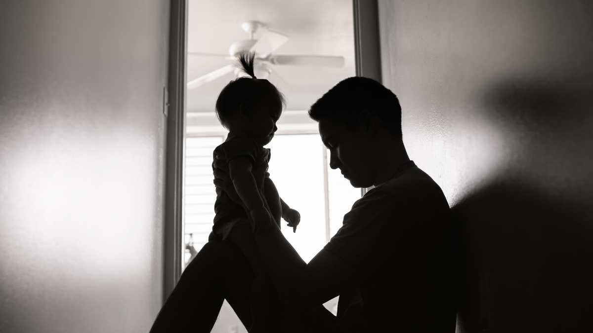 sad silhouette father showing regret