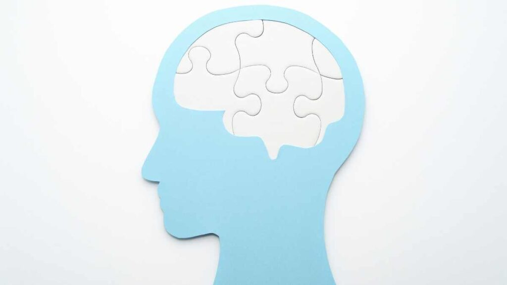 blue head with puzzle brain - mental health